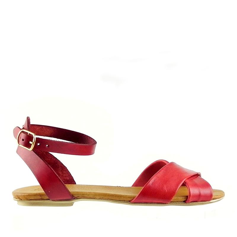Sandale dama din piele naturala CELIA rosu