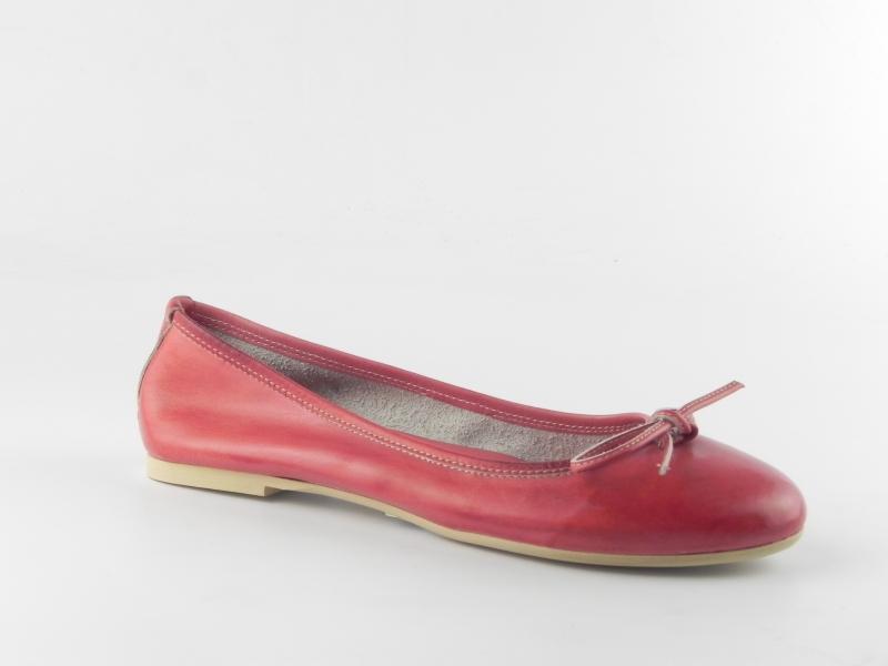 Balerini dama din piele naturala E400 Rosso-Tuffato