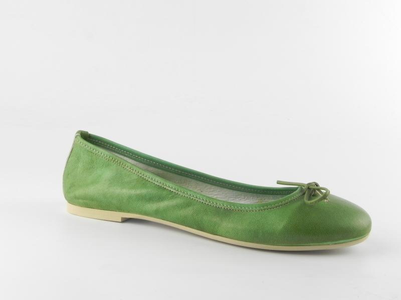 Balerini dama piele naturala E400  Verde-Tuffato