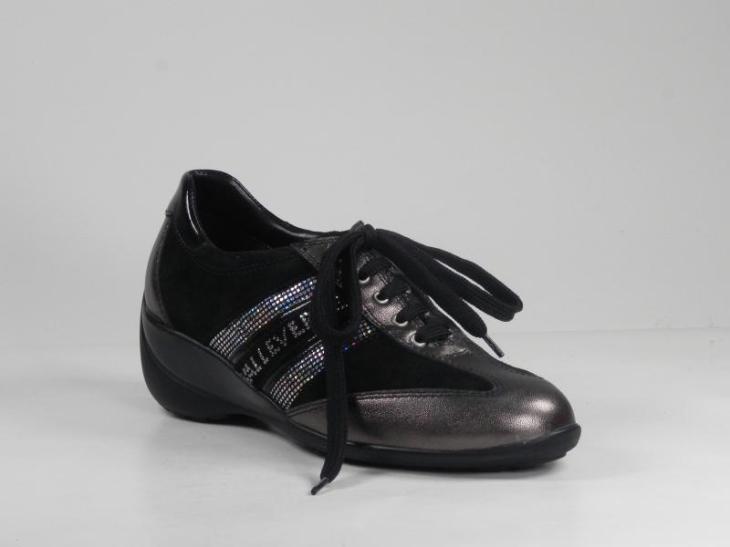 Pantofi dama din piele gri 7075-177