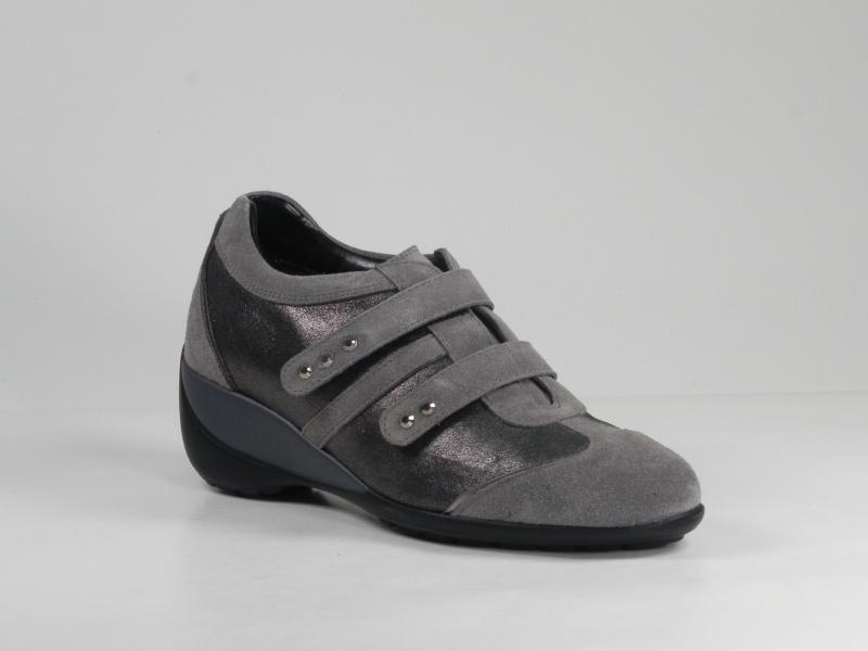 Pantofi sport dama din piele velur gri 7072-684