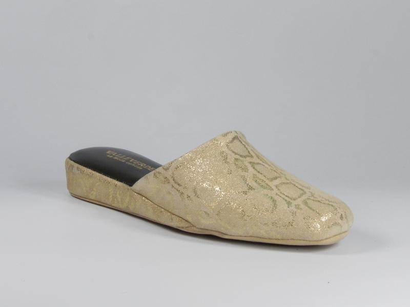 Papuci de casa din piele aurie 7567P-014