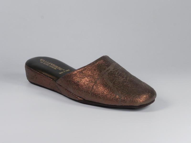 Papuci de casa din piele bronz 7650-046