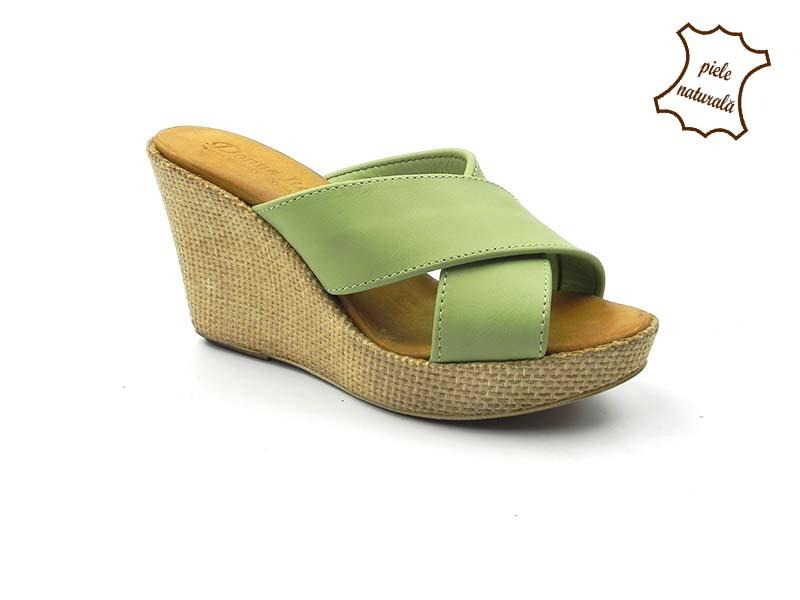 Papuci din piele naturala Sara verde