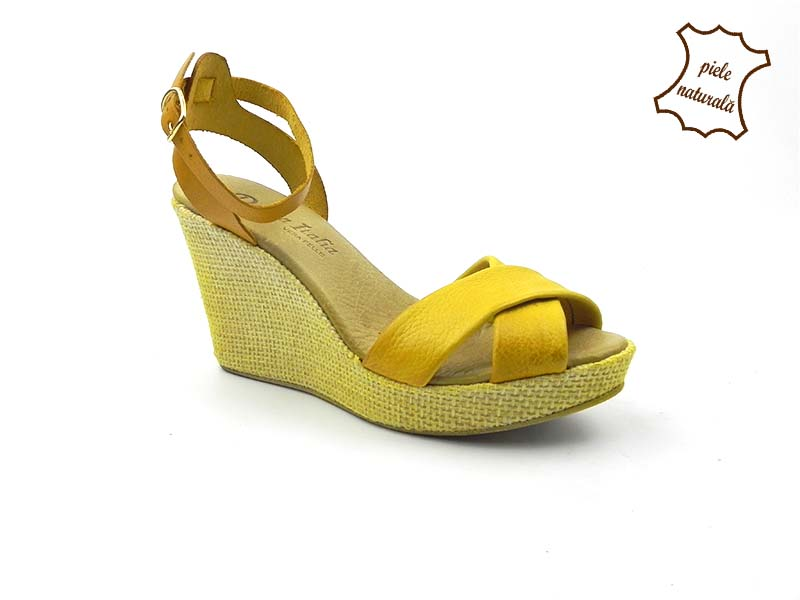 Sandale din piele naturala  Emily galben