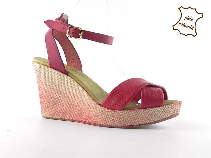Sandale din piele naturala Emily rosu
