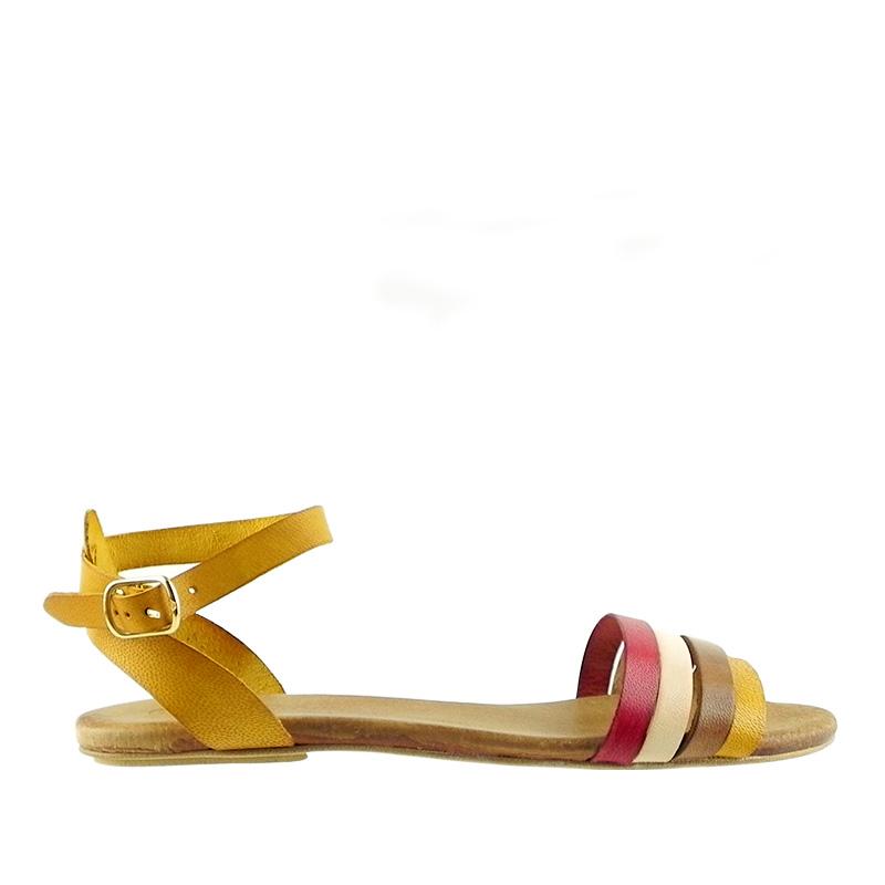 Sandale dama din piele naturala CELIA galben + culori
